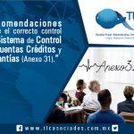 Recomendaciones sobre el correcto control del Sistema de Control de Cuentas Créditos y Garantías (Anexo 31)