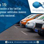 024 – Anexo 15: Actualización a las tarifas para ingresar vehículos nuevos al territorio nacional