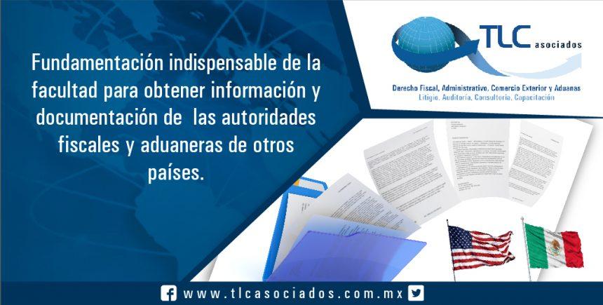 045 – Fundamentación indispensable de la  facultad para obtener información y  documentación de  las autoridades  fiscales y aduaneras de otros países