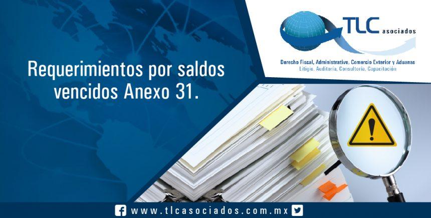 T037 – Requerimientos por saldos vencidos Anexo 31