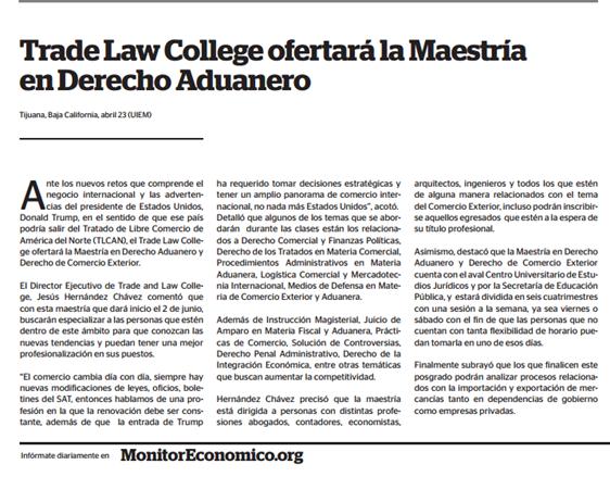 TRADE LAW COLLEGE OFERTARÁ LA MAESTRÍA EN DERECHO ADUANERO