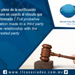 123 – Valor probatorio pleno de la notificación  efectuada  a un tercero en cuanto al vínculo que mantiene con el interesado / Full probative value of the notification made to a third party in relation to the relationship with the interested party
