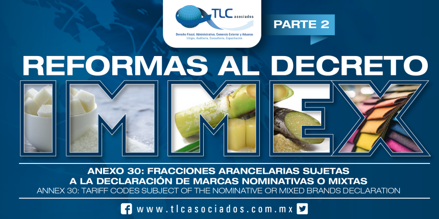 162 – Anexo 30: fracciones arancelarias sujetas a la declaración de marcas nominativas o mixtas / Annex 30: tariff items subject to the declaration of registered or mixed trademarks