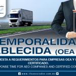 212 – Tiempo de respuesta a requerimientos para empresas OEA y Socio Comercial Certificado / Requirement response time for AEO Companies and Certified Commercial Partner