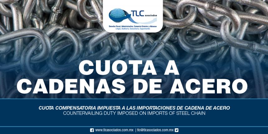 267 – Cuota compensatoria impuesta a las importaciones de cadena de acero / Countervailing duty imposed on imports of steel chain