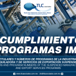 269 – Nombres de los titulares y números de programas de la Industria Manufacturera, Maquiladora y de Servicios de Exportación suspendidos / Names of the holders and program numbers of the suspended Manufacturing, Maquiladora and Export Services Programs