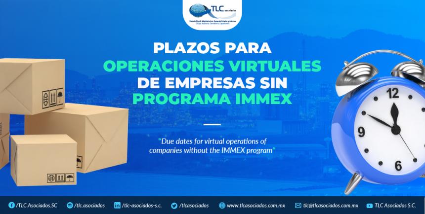 378 – Plazos para operaciones virtuales de empresas sin programa IMMEX/ Virtual operations terms for companies without IMMEX program