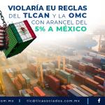 T86 – VIOLARÍA EU REGLAS DEL TLCAN Y LA  OMC CON ARANCEL DEL 5% A MÉXICO