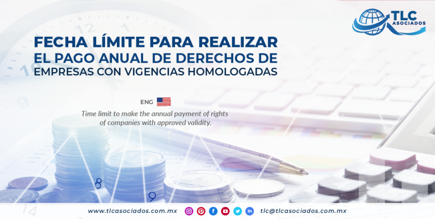 CO9 – Fecha límite para realizar el pago anual de derechos de empresas con vigencias homologadas./ Time limit to make the annual payment of rights of companies with approved validity.