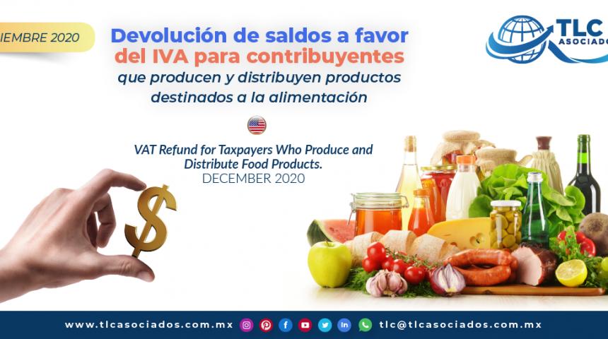 Devolución de saldos a favor del IVA para contribuyentes que producen y distribuyen productos destinados a la alimentación