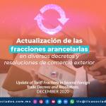 Actualización de las fracciones arancelarias en diversos decretos y resoluciones de comercio exterior