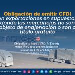Obligación de emitir CFDI en exportaciones en supuestos donde las mercancías no son objeto de enajenación o son a título gratuito.