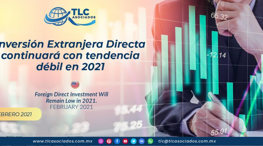 Inversión Extranjera Directa continuará con tendencia débil en 2021