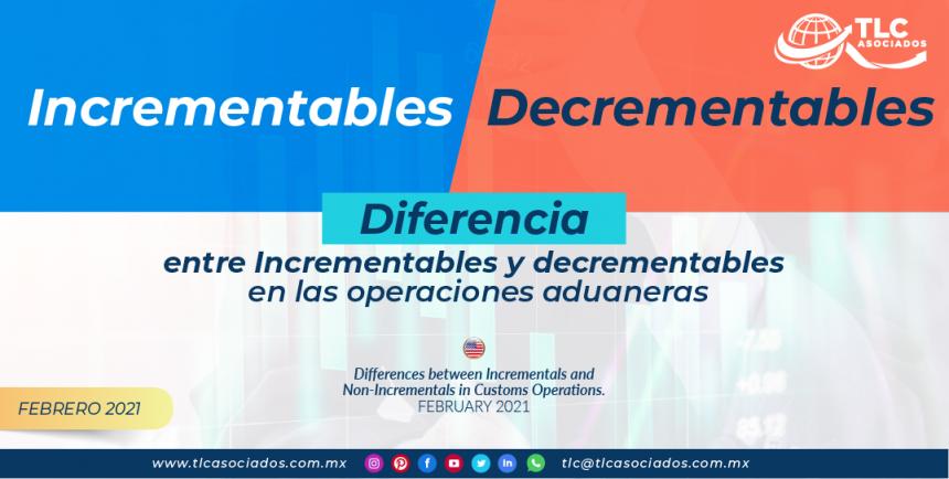 Diferencias entre incrementables y decrementables en las operaciones aduaneras.