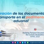 Declaración de los documentos de transporte en el pedimento aduanal