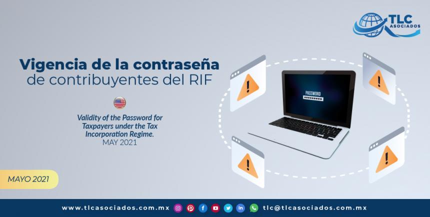 Vigencia de la contraseña de contribuyentes del RIF