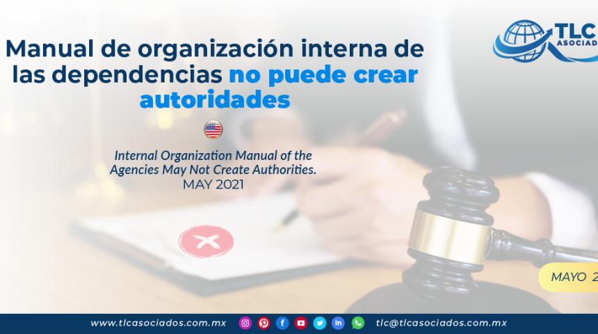 Manual de organización interna de las dependencias no puede crear autoridades