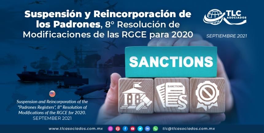 Suspensión y Reincorporación de los Padrones, 8° Resolución de Modificaciones de las RGCE para 2020